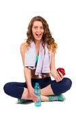 Bodybuilder Frau gesund nutritioning — Stockfoto