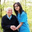 Kind Senior Lady with Nurse — Stock Photo