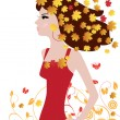 Autumn Woman — Stock Vector