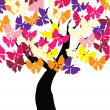 Tree Butterflies - Stock Vector