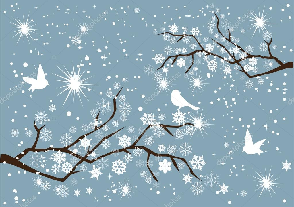 Vector branches with white birds — Vektorgrafik #16932125