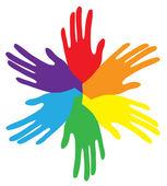 多彩的手 — 图库矢量图片