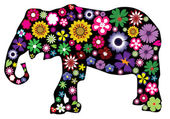 Floral Elephant — Stock Vector