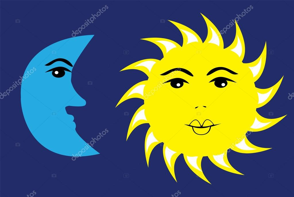 sol y Luna vector — Vector de lilac-design - depositphotos_31868399-Moon-Sun
