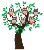 Owl Tree — Stock Vector