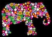 Floral Elephant — Stock Vector