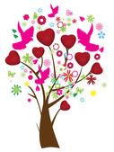 árbol de san valentín — Vector de stock