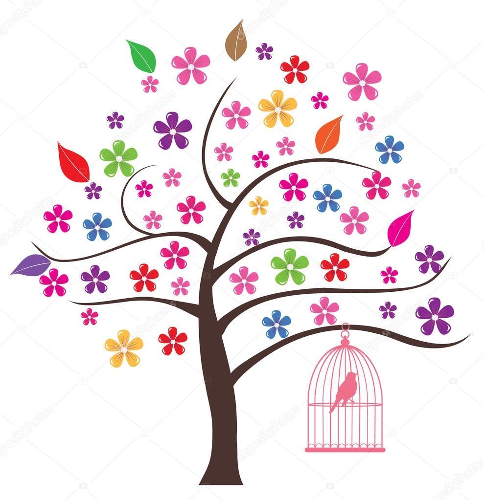 矢量花树与摆动的鸟– 图库插图