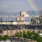 Rainbow over Ljubljana — Stock Photo #26065991