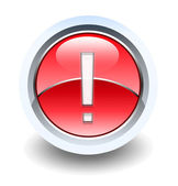 Warning exclamation glossy icon — Stock Photo