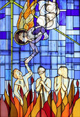 Angels and demons, stained glass church window — Stock Photo