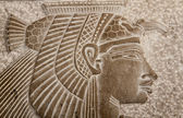 Detail of an old Egyptian marble representation of Amon-Ra — Stock Photo