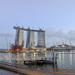 Marina Bay Sands Hotel under construction — Stock Photo #13975708