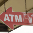 Stock Photo: Arrow shaped ATM sign