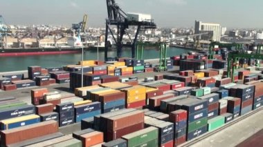 Casablanca harbor, Morocco: panorama of containers terminal