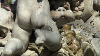 Fountain of Neptune, Piazza Navona, Rome, Italy — Stockvideo