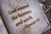 In the beginning, God created heavens and earth. Genesis 1:1 — Stock Photo