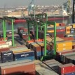 Casablanca harbor, Morocco: containers handling — Stock Video