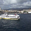 Ferry completely full of vehicles is leaving Messina — Stock Video