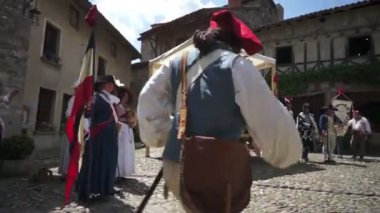 Historic commemoration of the French Revolution — Stock Video
