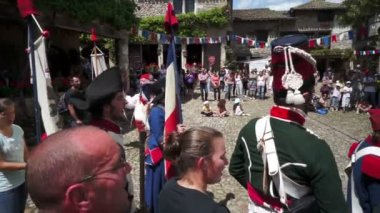 Patriotism during an historic commemoration of the French Revolution — Stock Video