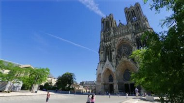 Reims Notre-Dame Cathedral, France — Stock Video