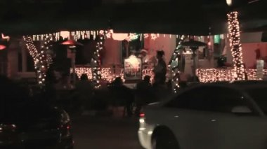 Ocean Drive by night at Christmas time — Stock Video