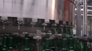 Technological line for bottling of beer in brewery — Stock Video