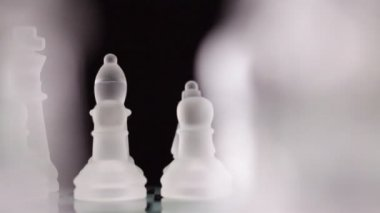 Crystal chess. Ready to play. Dolly shot. — Stock Video