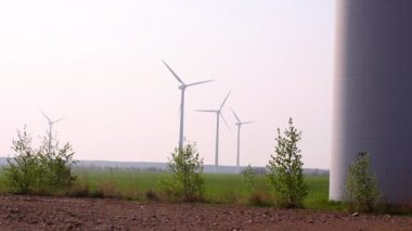 Field with wind generators — Stock Video