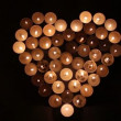 Stock Video: Heart shape made of candles