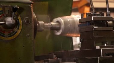 Heavy industry - processing steel on a lathe in factory — Stock Video