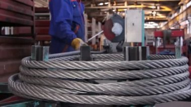 Heavy industry - steel rope, hawser — Stok video