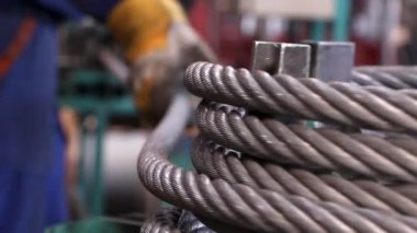 Heavy industry - steel rope, hawser — Stock video