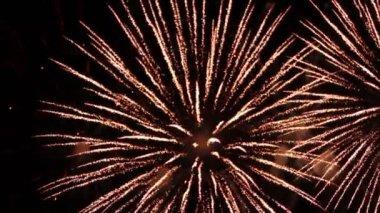 Fireworks at holiday night — ストックビデオ
