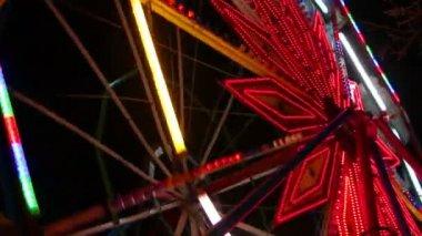 Ferris wheel at night — Stock Video