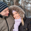 Couple on the winter background — Stock Photo