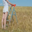 Woman stands on the stepladder — Stock Photo