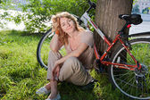 Girl with a bicycle — Foto Stock