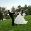 Newly married couple dancing in field — Stock Photo #13963142