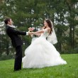 Newly married couple dancing in field - Stock Photo