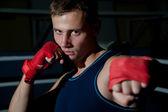 Portrait of boxing man — Stock Photo