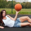 Beautiful Charming WomHolding Basketball In Hand — Stock Photo #35171097