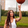 Sexy WomThrow Basketball — Stock Photo #35171121