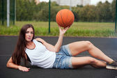 Beautiful Charming Woman Holding Basketball In Hand — Foto Stock