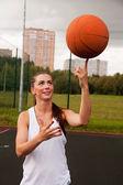 Sexy Woman Throw Basketball — Zdjęcie stockowe