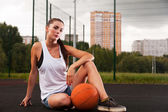 Sexy Woman Holding Basketball In Hand — Stock Photo