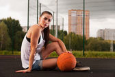 Woman Holding Basketball In Hand — Stock Photo