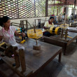 Girls works on silk factory — Stock Photo