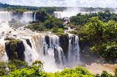 Panorama view Iguassu Falls, waterfall in Brazil — Stock Photo